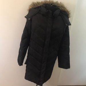 Kenneth Coal Black Calf length puffer coat/Size 3X